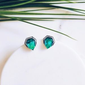 Green Stone Crystal Studs w/CZ's